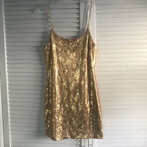 Gold sequin mini dress